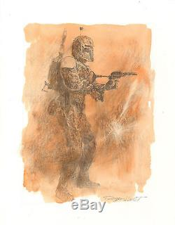 Boba Fett Drawing by Star Wars Empire Strikes Back poster artist Roger Kastel