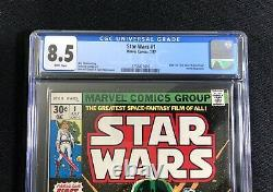 CGC 8.5 STAR WARS 1 Marvel 1977 A NEW HOPE 1st Print Luke Leia Vader White Pages