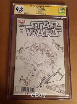 CGC 9.8 SS Star Wars #1 Sketch Variant Cover signed by Alex Ross