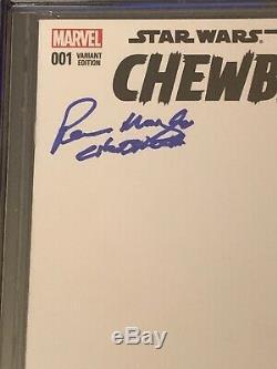 Chewbacca #1 CGC 9.8 SS Peter Mayhew RIP Blank Sketch Cover Star Wars Add Art