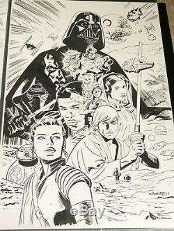 Chris Samnee Star Wars Adventures original art cover rey finn darth vader