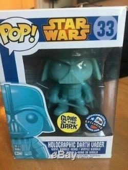 Funko Pop Star Wars 33 Holographic Darth Vader GITD Dallas Comic Con Exclusive