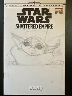 Marvel Comics Star Wars #1 sketch Blank cover Mandalorian The Child Baby Yoda IG