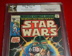 RARE Signed STAN LEE Autograph Marvel STAR WARS Comic 1, PGX VF 7.5, COA not CGC