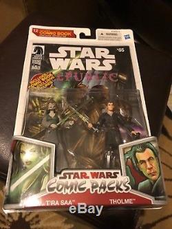 RARE T'RA SAA THOLME Star Wars Comic 2-pack MOC Action Figures Republic #65 2009