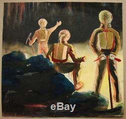 Russian Ukrainian Soviet Painting space Star Wars Art comic spaceman Rare 1958 y