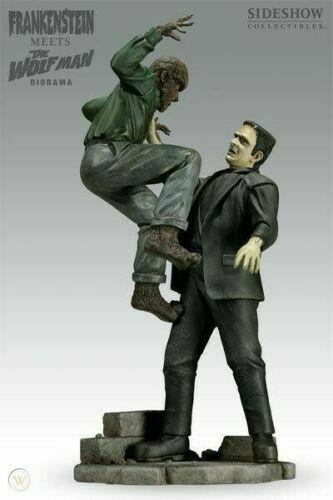 Sideshow Frankenstein Meets The Wolfman Diorama Statue Universal Monsters Lugosi