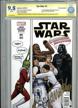 STAR WARS #1 CBCS 9.8 SS. 1st Print Party Variant. Signed by Carrie Fisher