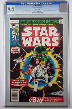 STAR WARS #1 Comic CGC 9.4 WHITE PAGES (1977) Original owner 1st print