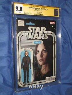 STAR WARS ROGUE ONE #1 CGC 9.8 SS Signed Felicity Jones Action Figure Variant