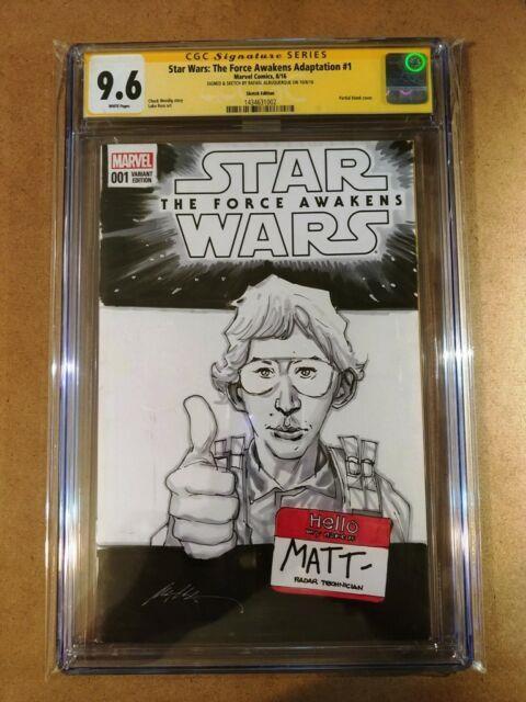 Star Wars The Force Awakens # 1 Cgc Ss 9.6 Rafael Albuquerque Sketch Cover Kylo