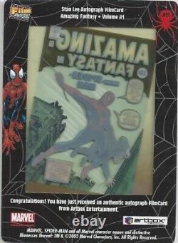 Spider-Man FilmCardz Stan Lee Autograph Card A11 Case Topper Artbox 2002