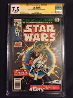 Star Wars 1 (1977) CGC 7.5 SS Mark Hamill and Stan Lee in Gold