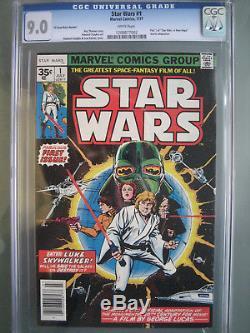 Star Wars #1 35 Cent Price Variant CGC 9.0 Universal Rare Marvel Comics 1977