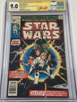 Star Wars #1 35 Cent Price Variant Signed by Mark Hamill & Stan Lee CGC 9.0 SS