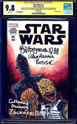 Star Wars #1 BLANK CGC SS 9.8 BOUNTY HUNTERS SKETCH signed BOSSK IG88 ZUCKUSS