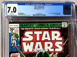 Star Wars #1 CGC 7.0 CRISP WHITE PAGES 1ST PRINT 1977 Marvel Part 1 A New Hope
