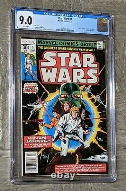 Star Wars #1 CGC 9.0 Marvel Comics 1977 1st Print White Pages New Hope 1st Luke