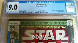 Star Wars #1 CGC 9.0 OWithW Pages Marvel Comics 1977 series New Hope