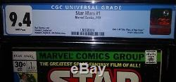 Star Wars #1 CGC 9.4 NM White pages Bronze Age Key New Case
