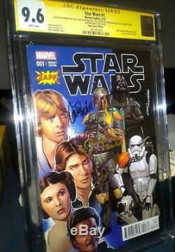 Star Wars#1 CGC Signed 9.6 Jeremy B, David P, Billy W, Carrie Fisher Mark Hamill