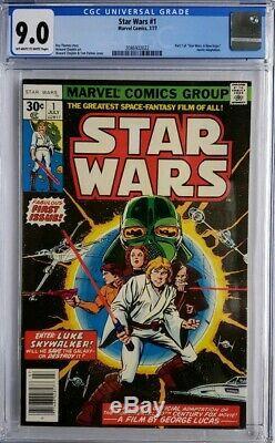 Star Wars 1 Cgc 9.0 1977 Rare Newstand 1st Print App Luke Rise Of Skywalker
