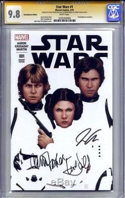 Star Wars #1 Cgc 9.8 Ss Mark Hamill, Carrie Fisher & Jason Aaron