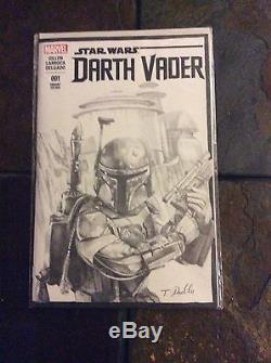 Star Wars 1 Darth Vader Blank Variant Boba Fett Sketch Original Art By Padlo