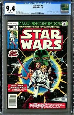 Star Wars #1 (Marvel 1977) 1st Print CGC 9.4, Pristine White NM! Clean case