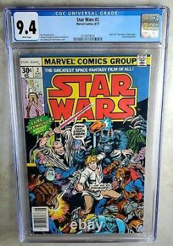 Star Wars #2 NEWSSTAND Marvel 1977 CHEWBACCA CGC 9.4 NM White Pages Comic P0007