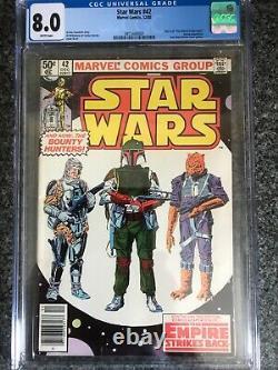 Star Wars 42 CGC 8.0 NEWSSTAND Marvel Comic 12/80 1st Boba Fett HOT
