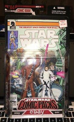 Star Wars LOT 4 Comic Packs RARE WHITE Stormtrooper Luke Han R2D2 Chewy Vader