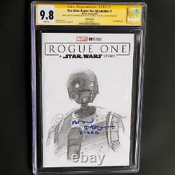 Star Wars Rogue One #1 1-of-a-kind Sketch & 2x Signed Cgc 9.8 Ss K-2s0