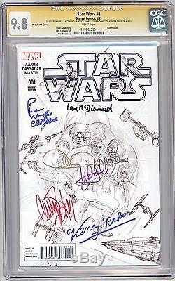 Star Wars Ross Sketch CGC 9.8 SS Signed x6 Mark Hamill, Kenny Baker + MORE