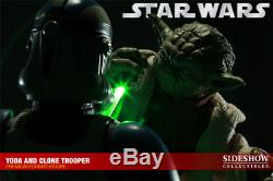 Yoda And Clone Trooper Premium Format Sideshow Star Wars 1/4 statue replica